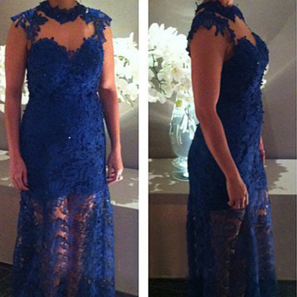 Royal Blue Prom Dress,Mermaid Prom Dress,Lace Prom Gown,Backless Prom Dresses,Sexy Evening Gowns,Cap Sleeves Evening Gown,Open Back Party Dress For Teens