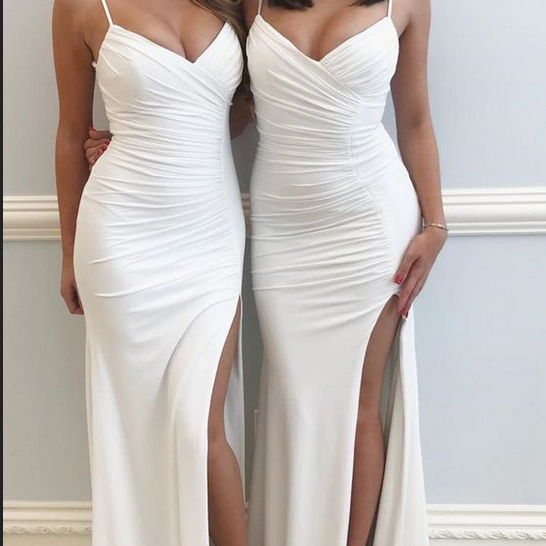 Spaghetti Straps White Prom Dress with Slit