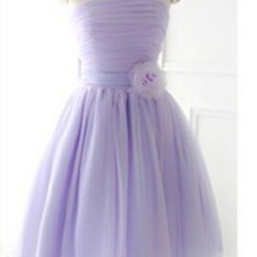 Custom Made Short Strapless Bridesmaid Dress,Tulle Cute Bridesmaid Dress With Handmade Flowers
