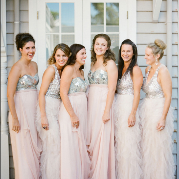 Silver Sequin Sleeveless Bodice With Pink Chiffon Long Skirt Evening Dress, Mismatched Bridesmaid Dress