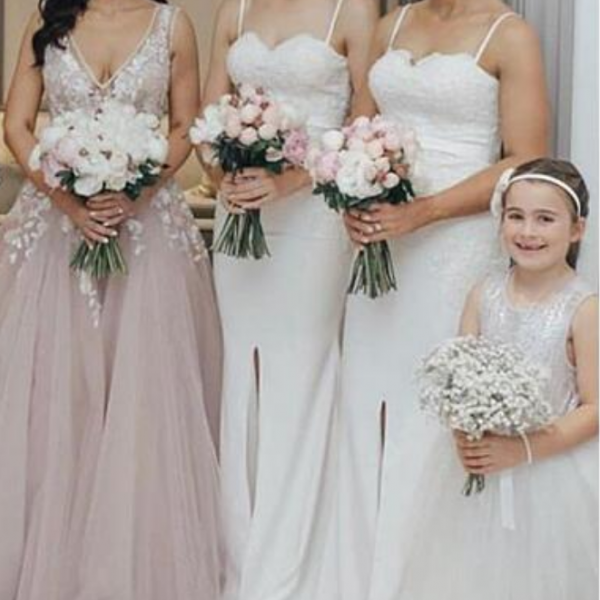 White Mermaid Satin Bridesmaid Dresses Spaghetti Straps Sleeveless Side Slit Bridesmaid Gowns Prom Dresses
