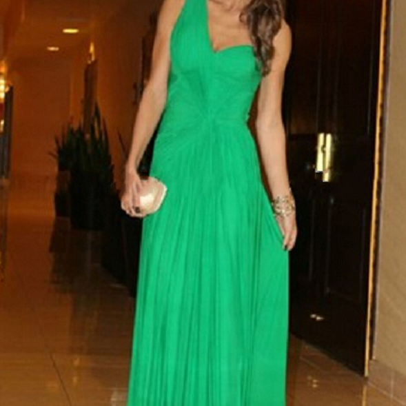 New Arrival A Line Floor Length Chiffon One Shoulder Discount Prom Dresses Fast Shipping Backless Prom Gowns