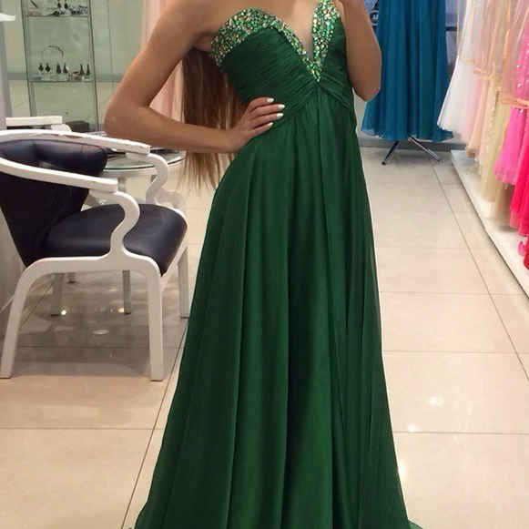 Chiffon Prom Dress, Hunter Green Prom Dress, Sweetheart Prom Dress, Zipper Back Prom Dress