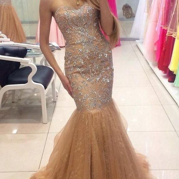Gorgeous Mermaid Tulle Beading Sweetheart Lace Up Prom Dresses