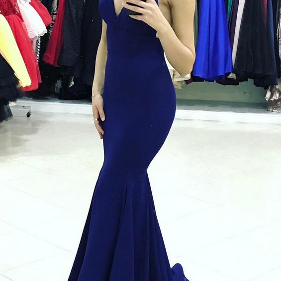 Sexy Royal Blue V Neck Backless Mermaid Prom Dress, With Spaghetti Straps Formal Gown
