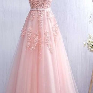 Bridesmaid Dresses,Pink Lace Prom Dresses,V-neck Prom Dress,A-line Prom Dresses,Backless Prom Gowns,Evening Dresses,Long Prom Dresses,Elegant Prom Dresses For Teens,Party Dresses