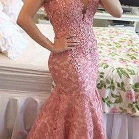 Dark Pink mermaid appliques women's evening party gowns,Open Back Prom Dress