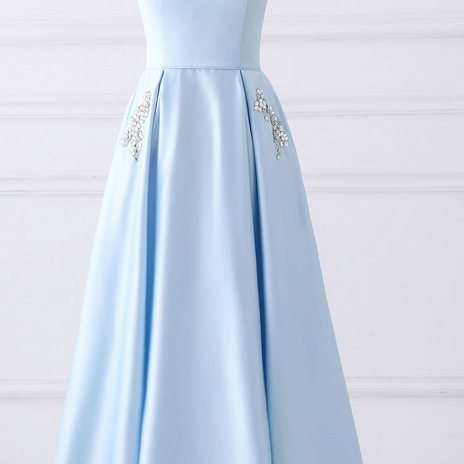 Simple A-line Strapless Long Cheap Prom Dresses with Pocket, Light Blue Satin Prom Gowns