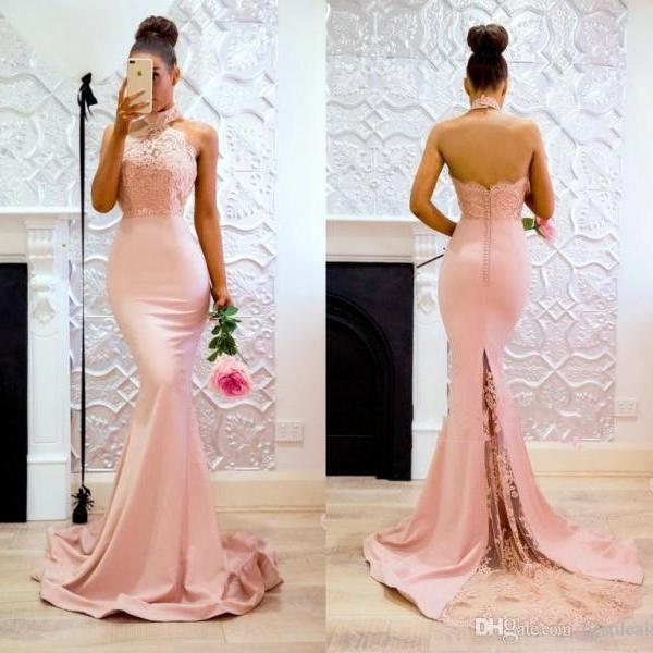 Elegant Mermaid Pink High Neck Prom Dresses Open Back Lace Evening Gowns Sweep Train Cheap Bridesmaid Dress