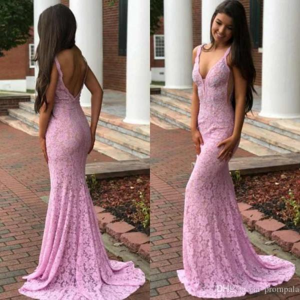 Sexy Lace Mermaid Prom Dresses Deep V Neck Full Appliques Sexy Backless Sweep Train Party Gowns