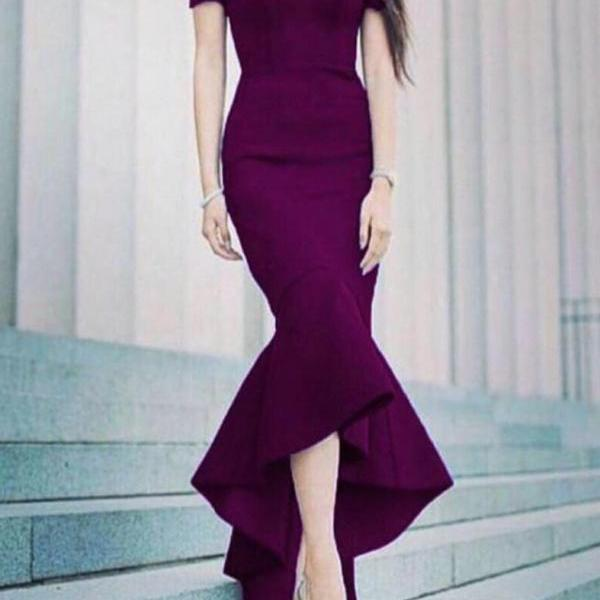 Hi-Lo Mermaid Prom Dresses with Off Shoulder Tea Length Sweetheart Neck Ruffles Cheap Sexy Crepe Trumpt Grape Evening Gowns
