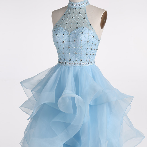 Light Blue High Neck Sleeveless Beaded Top Ruffles Skirt Short Homecoming Party Dress