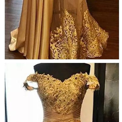 Middle East Off Shoulder Magnificent Mermaid Prom Dresses Party Evening Gowns Gold Tulle Lace Beaded Custom Dubai Vestidos De Fiesta