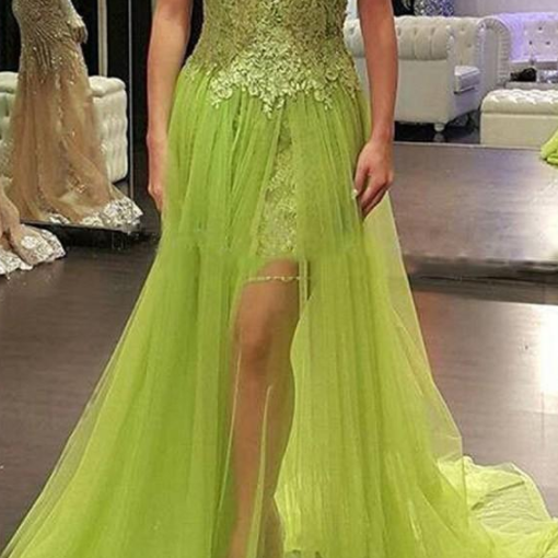 Green Lace High Low Evening Dress Cheap See-through Sweetheart Sexy Cap Sleeve Appliques Party Gowns 8th Graduation Prom Dresses Cheap