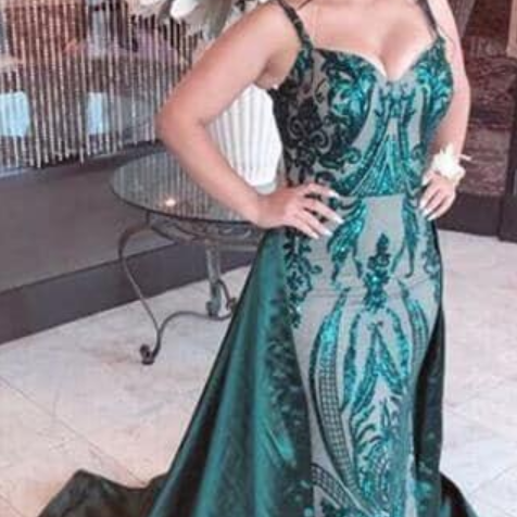 Dark Green Mermaid Evening Dresses with Detachable Train Spaghetti Sequined special occasion dress sweep train prom pageant gowns