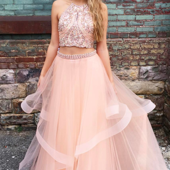 Gorgeous Two Piece Halter Beaded Prom Dress