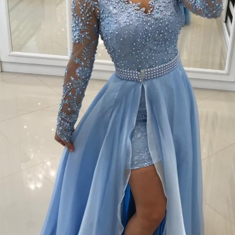Blue Long-Sleeve Lace Evening Dresses Beaded A-Line Prom Dresses Side Split V Neck Detachable Train vestidos de noiva