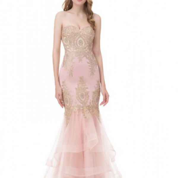 strapless Prom Dresses, pink Party Dresses, Mermaid evening Dresses