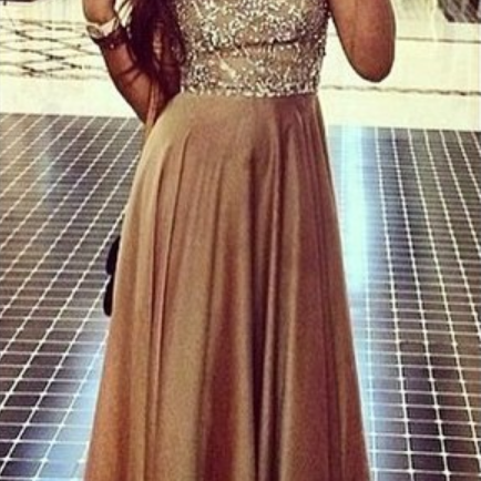 Prom Dresses Luxury Sparkle Bling Champagne Beads Rhinestones Long Formal Evening Party Gowns