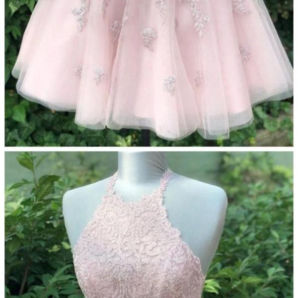 Fashion Lux pink sleeveless halter fashion dresses midi dresses tulle applique short homecoming dress