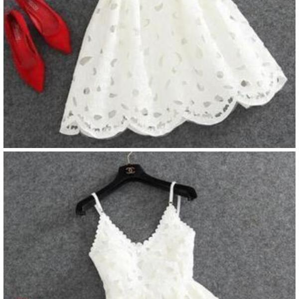 Fashion Lux Cute White Lace Homecoming Dress, Short Prom Dress,cocktail dress