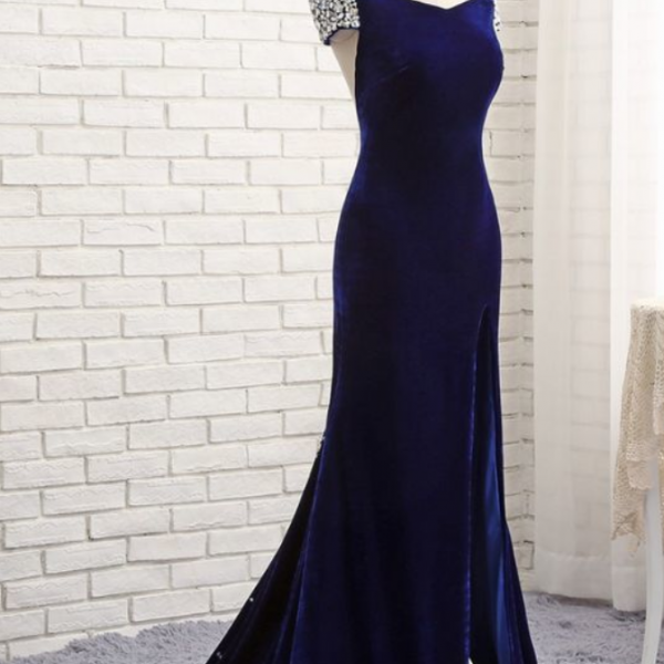 Prom Dresses ,Mermaid V-neck Backless Velvet Crystals Slit