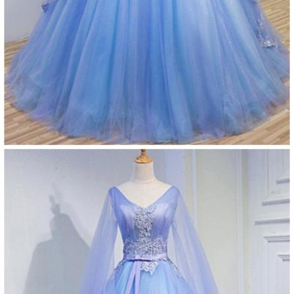 Light Blue Tulle V Neck Long Sleeve Lace Applique Prom Dress For Teen