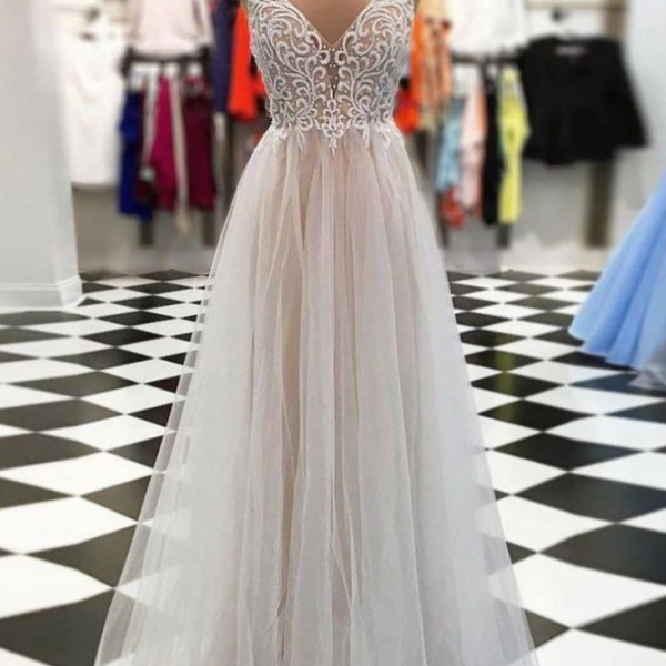 Chic Prom Dresses Spaghetti Straps Floor-length Long Cheap Prom Dress