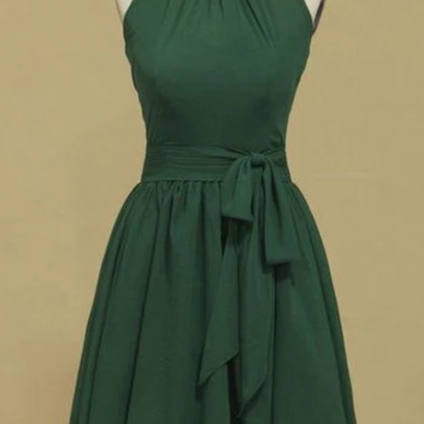 of the spoon of the bridesmaid A line of short / mini chiffon homecoming dress