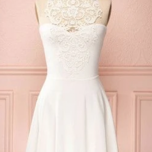 Short A-line white Homecoming Dresses