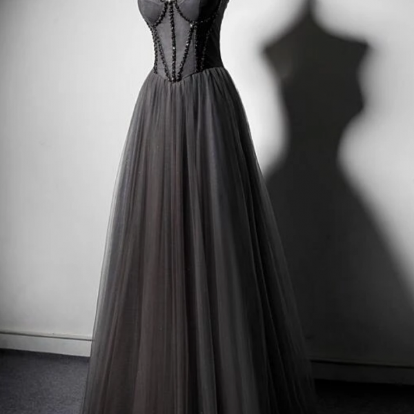 Dark Grey Tulle Straps Long Beaded Party Dress, Grey Long Formal Dresses