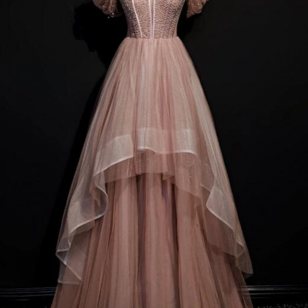 Tulle Beaded Layer Tulle Long Evening Dress, Charming Prom Dress