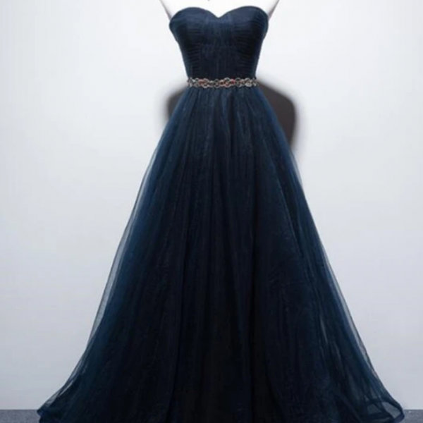 A-Line Prom Dress, Tulle Long Party Dress