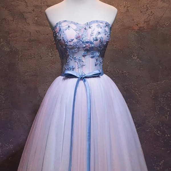 Tulle Sweetheart Formal Dress With Lace, Cute Short Homecoming Dress