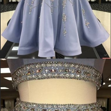 Two Piece, Homecoming Dress, Rhinestone, Scoop Sexy, Chic Short Prom Dress ,Party Dress