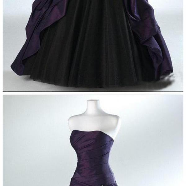 Robe De Mariage Halloween Ball Gown Backless Strapless Distinctive Bridal Skirt Gothic Purple And Black Wedding Dresse