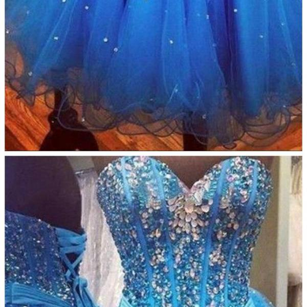Luxury beads Rhinestone Organza Blue Sweetheart Homecoming Dresses Cheap,Sweetheart Evening Dresses,tulle Prom Gowns,Wedding Gowns,Homecoming party Gowns,Custom Made Evening Dress,Vestido de Noiva, Wedding Guest Dress