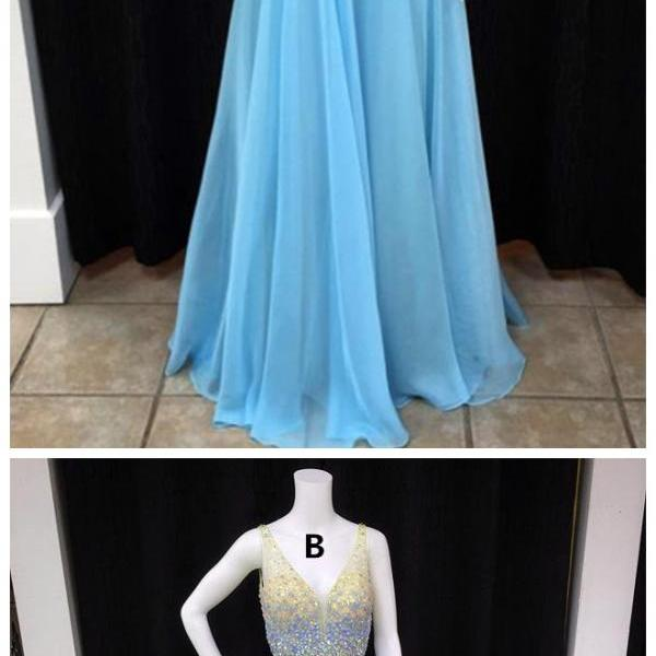 Prom Dress,New Arrival Prom Dress,Modest Prom Dresses,long chiffon v neck crystal beaded prom dresses floor length