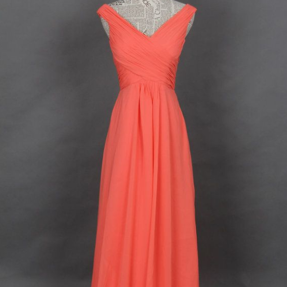 Hot Sale Chiffon Floor Length Strapless V Neck Coral Prom Dress , Party Dresses, Evening Dresses, Long Prom Dress 2016,Graduation Dresses