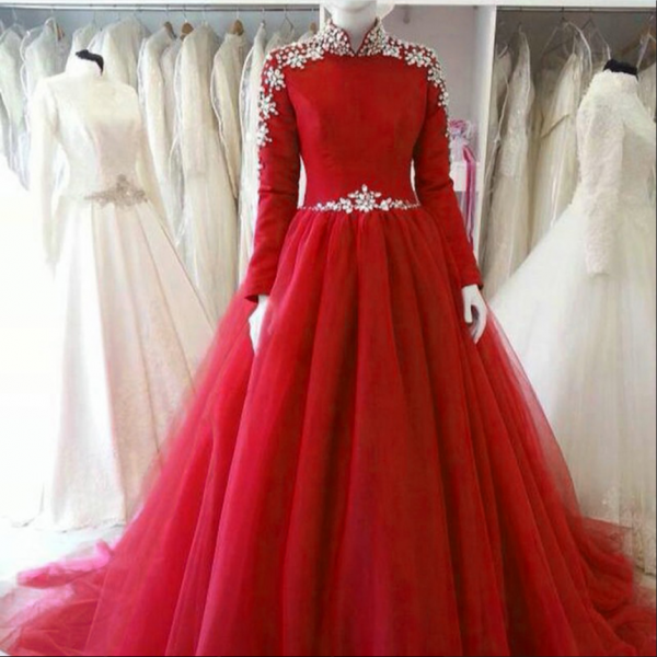 Long Sleeve Red Tulle Bridesmaid Dress,Floor Length Ball Gown Hiigh Neck Bridesmaid Dresses, Long Elegant Prom Dresses Party Evening Gown