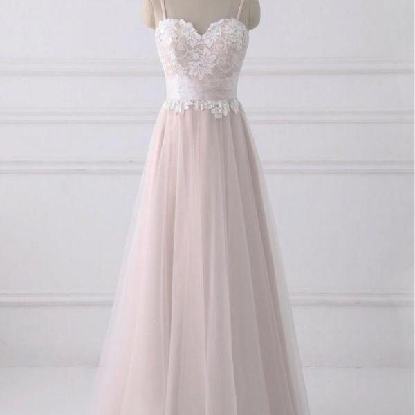 Creamy tulle spaghetti straps sweetheart neck lace top sweet 16 prom dresses