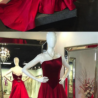 Winter burgundy velvet backless long train satin evening dress