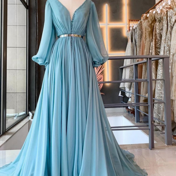 blue prom dresses long sleeve v neck chiffon a line elegant cheap prom gown vestido de fiesta 2021