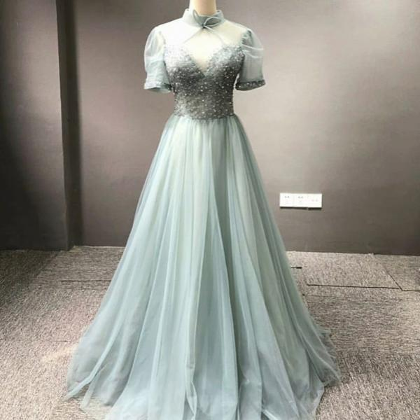 sage green prom dresses long vintage high neck short sleeve beaded chiffon a line cheap prom gown robe de soiree 2021