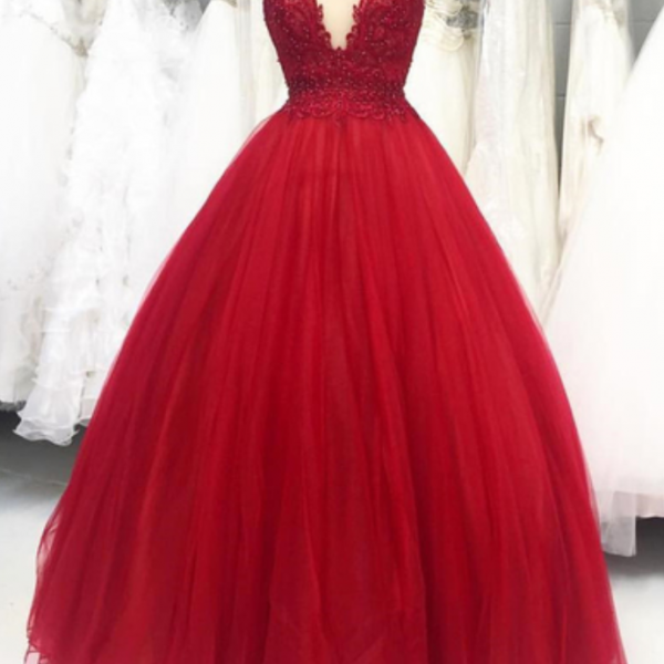 Burgundy scoop neck long tulle cap sleeves sweet 16 prom dresses