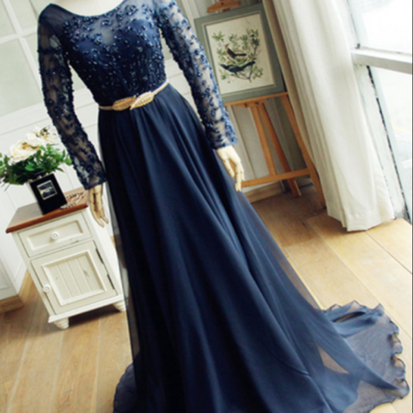 Navy blue scoop neck beaded long sleeves winter formal prom dress with gold belt