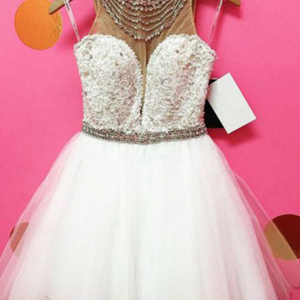 Cute white tulle beaded short homecoming dress, short lace top party dresses