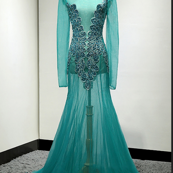 Long Sleeve Formal Evening Dress, Crystal Beading Mermaid Evening Dresses, Long Prom Dress