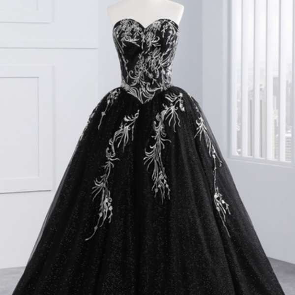 Princess black tulle long prom gown, strapless long A-line evening dress