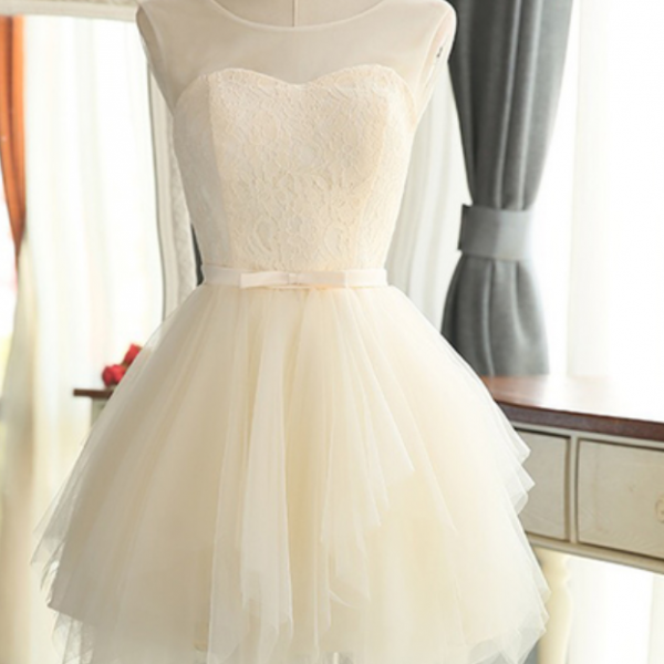 Ivory tulle short lace round neck prom dress, halter bowknot bridesmaid dress
